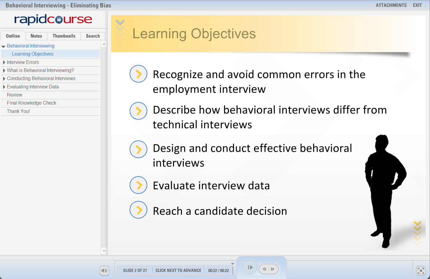 behavioral interviewing eliminating bias rapid courserapid course behavioral interviewing screenshot 2